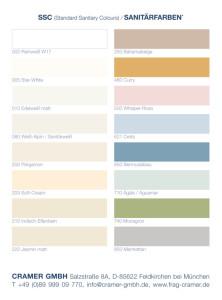 Sanitärfarben im Überblick - Cramer Farbkarte